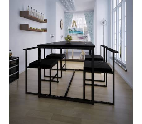 vidaxl 5 teilige essgruppe tisch 4 st hle schwarz g nstig kaufen. Black Bedroom Furniture Sets. Home Design Ideas