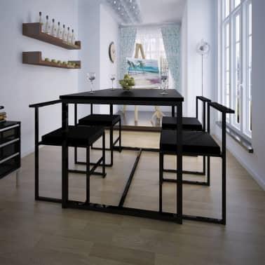 vidaXL Ensemble de table et de chaises de salle à manger 5 pièces Noir[1/6]