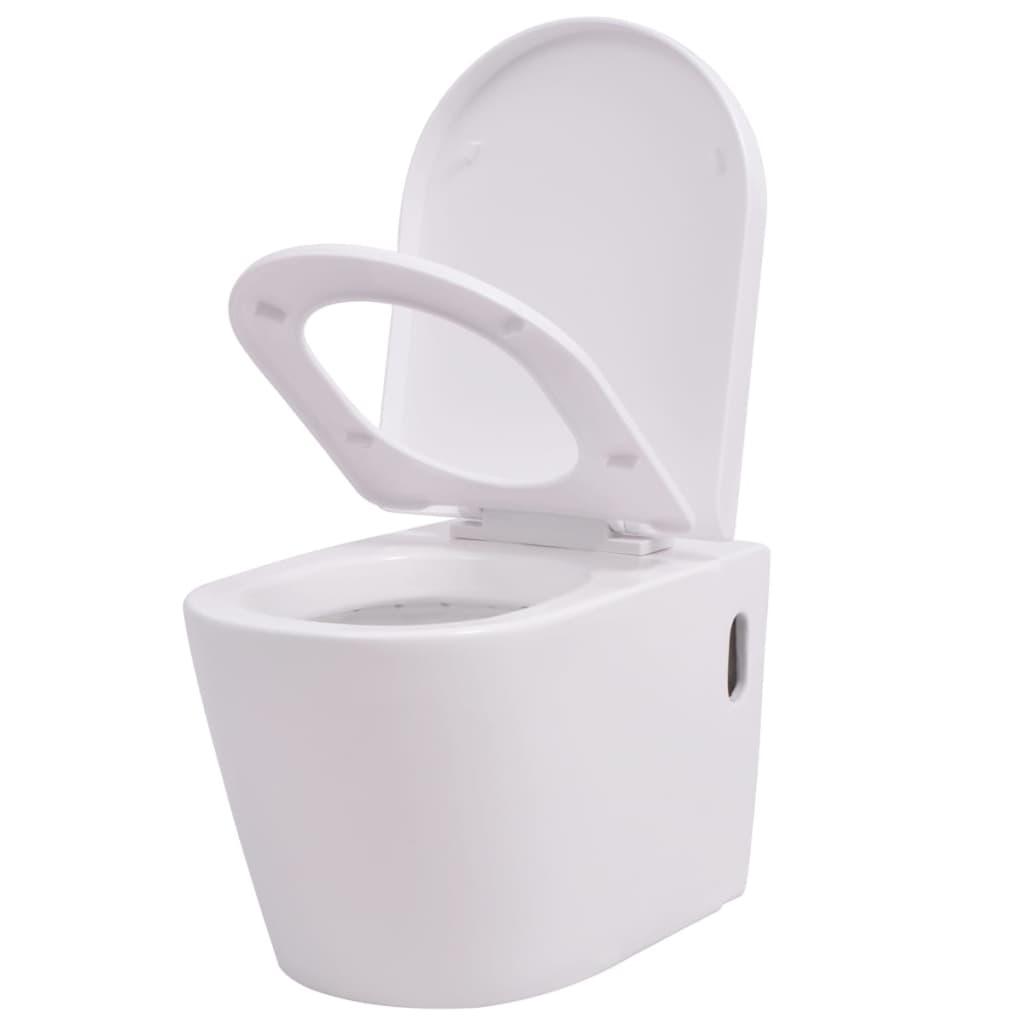 Afbeelding van vidaXL Hangend toilet keramiek wit