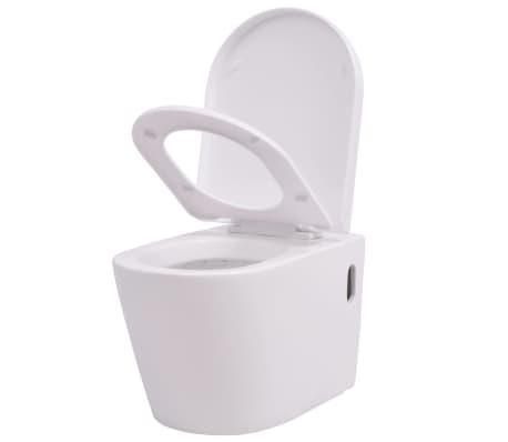 vidaXL Окачена тоалетна чиния, керамична, бяла