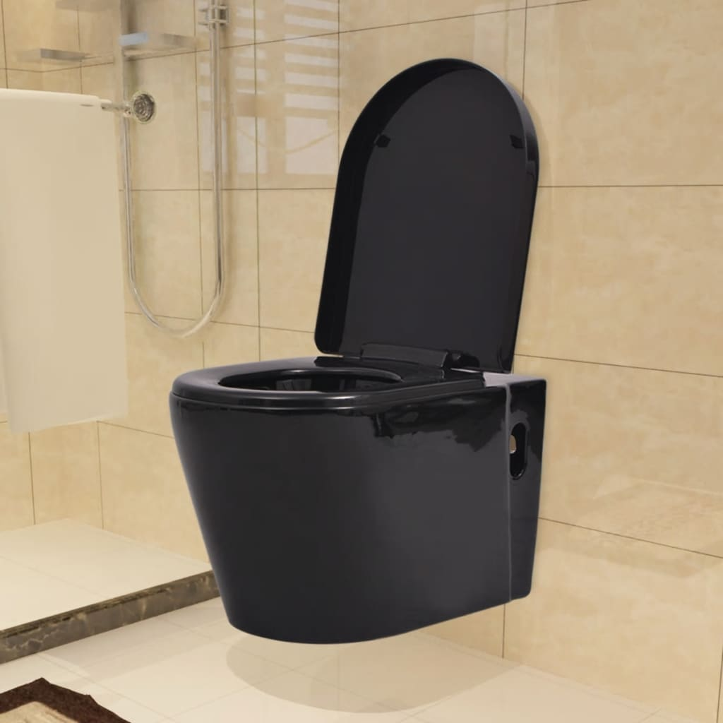 vidaXL Závěsné WC keramické černé