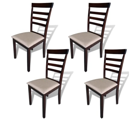 vidaXL Dining Chairs 4 pcs Fabric Brown and Cream[1/3]