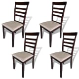 vidaXL Dining Chairs 4 pcs Fabric Brown and Cream