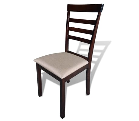 vidaXL Dining Chairs 4 pcs Fabric Brown and Cream[2/3]
