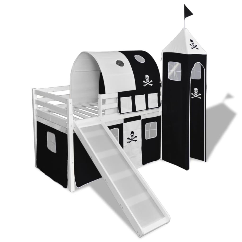 vidaXL Cama alta para niños con tobogán y escalera madera blanca/negra