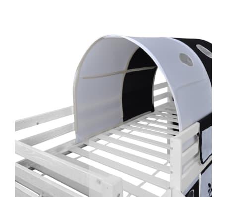 vidaXL Vaik. lova-fortas su čiuožykla ir kopėč., med., juoda ir balta[7/11]