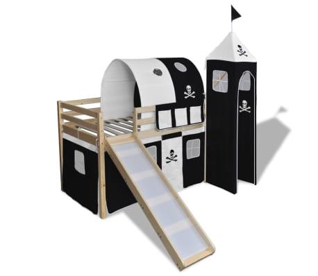 vidaxl kinderhochbett mit rutsche leiter holz schwarz und wei g nstig kaufen. Black Bedroom Furniture Sets. Home Design Ideas