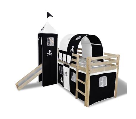Vidaxl letto a castello per bambini con scivolo e scala in legno nero e bianco - Letto a castello con scivolo ...