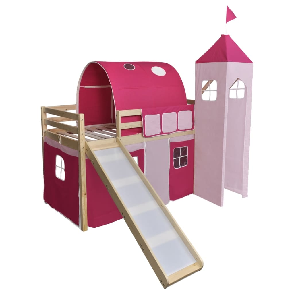 vidaXL Κρεβάτι Παιδικό Υπερυψωμένο με Τσουλήθρα & Σκάλα Ροζ Ξύλινο