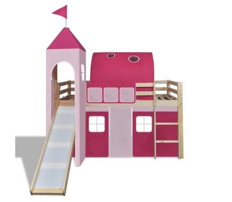 Vidaxl letto a castello per bambini con scivolo e scala in legno rosa - Letto a castello con scivolo ...