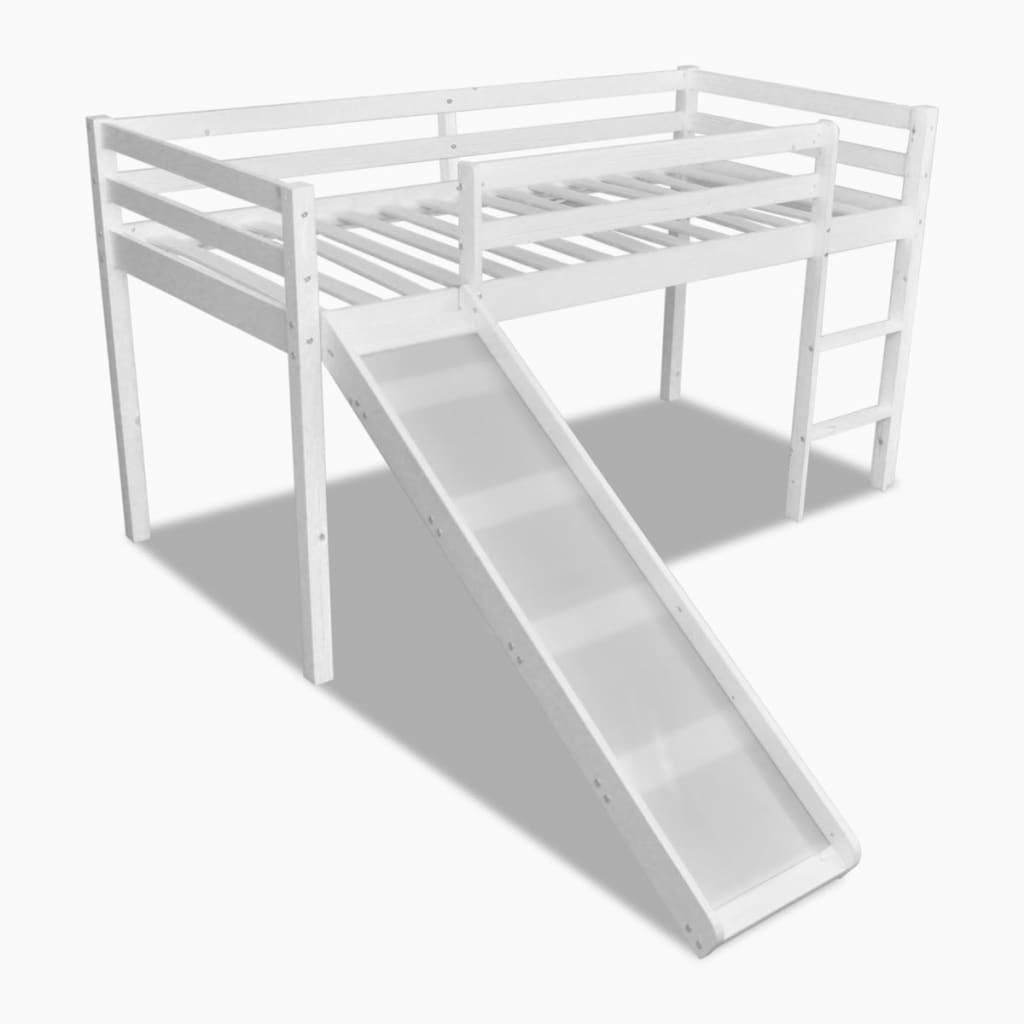 vidaXL Pat etajat pentru copii, cu tobogan și scară din lemn, alb vidaxl.ro