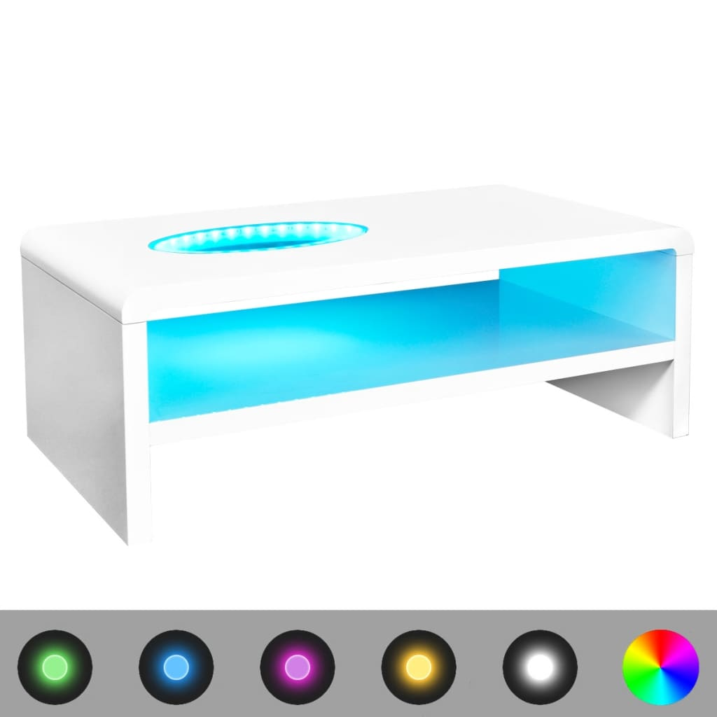 vidaXL Măsuță de cafea cu LED-uri lucioasă, alb, 105 x 55 x 42 cm poza vidaxl.ro