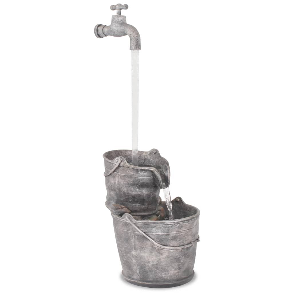 vidaXL Decor cu apă curgătoare, robinet și găleți, polirășină poza vidaxl.ro