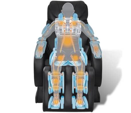 vidaXL Masažinė kėdė, juodos spalvos, dirbtinė oda[7/13]