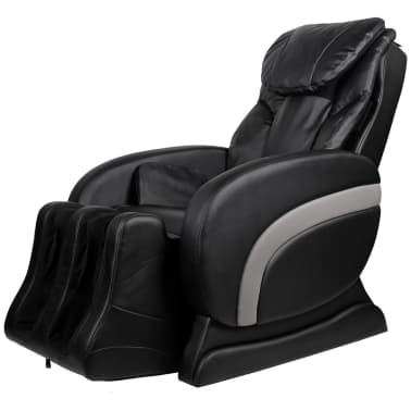 vidaXL Masažinė kėdė, juodos spalvos, dirbtinė oda[3/13]