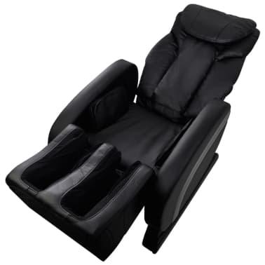 vidaXL Masažinė kėdė, juodos spalvos, dirbtinė oda[5/13]
