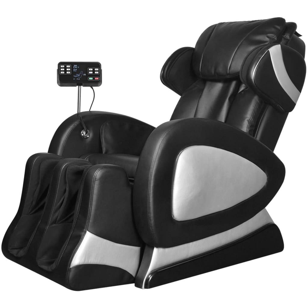 vidaXL Fotel do masażu z ekranem, czarny, sztuczna skóra