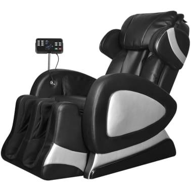 vidaXL Masažinis krėslas su ekranu, juodos spalvos, dirbtinė oda[1/11]