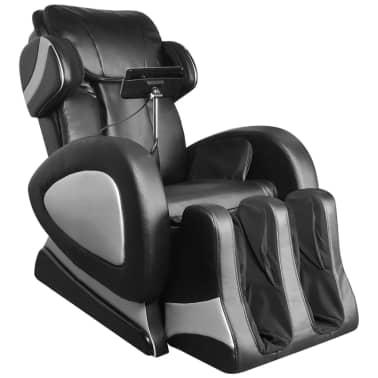 vidaXL Masažinis krėslas su ekranu, juodos spalvos, dirbtinė oda[2/11]