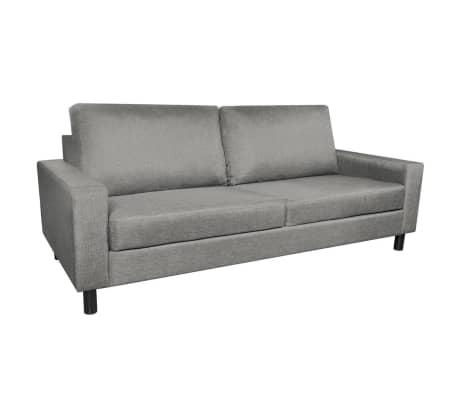 vidaXL 3 személyes világosszürke szövet kanapé