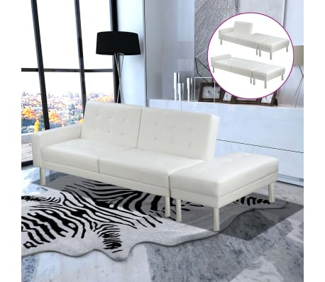 vidaxl schlafsofa kunstleder wei g nstig kaufen. Black Bedroom Furniture Sets. Home Design Ideas