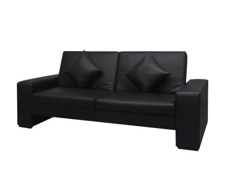 acheter vidaxl canap lit cuir artificiel noir pas cher. Black Bedroom Furniture Sets. Home Design Ideas