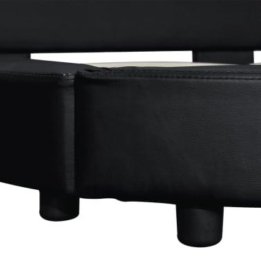 vidaXL Cadre de lit rond 180 x 200 cm Cuir artificiel noir[6/7]