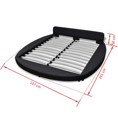 vidaXL Cadre de lit rond 180 x 200 cm Cuir artificiel noir[7/7]