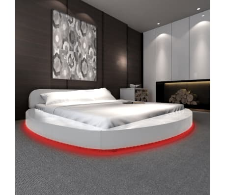 Vidaxl estructura de cama led 180x200 redonda cuero artificial blanco - Estructura cama 180x200 ...