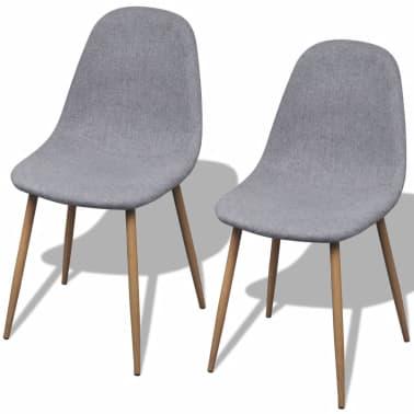 vidaXL Dining Chairs 2 pcs Fabric Light Gray[1/6]