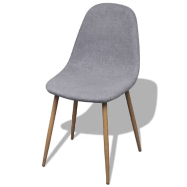 vidaXL Dining Chairs 2 pcs Fabric Light Gray[2/6]