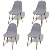 vidaXL Dining Chairs 4 pcs Fabric Light Gray