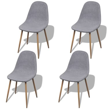 vidaXL Dining Chairs 4 pcs Fabric Light Gray[1/6]