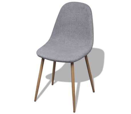 vidaXL Dining Chairs 4 pcs Fabric Light Gray[2/6]
