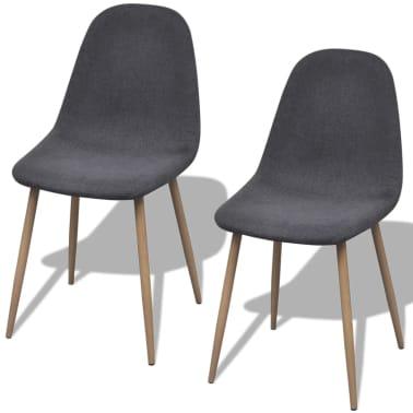 vidaXL Dining Chairs 2 pcs Fabric Dark Gray[1/6]