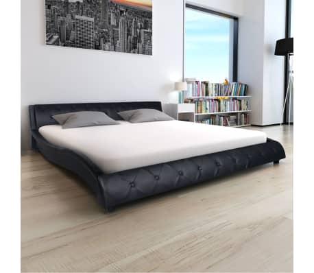 vidaxl bettrahmen kunstleder 180x200 cm schwarz g nstig kaufen. Black Bedroom Furniture Sets. Home Design Ideas