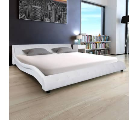 acheter vidaxl cadre de lit cuir artificiel 180 x 200 cm blanc pas cher. Black Bedroom Furniture Sets. Home Design Ideas