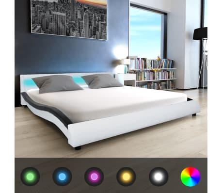 acheter vidaxl cadre de lit avec led 180 x 200 cm cuir artificiel blanc et noir pas cher. Black Bedroom Furniture Sets. Home Design Ideas