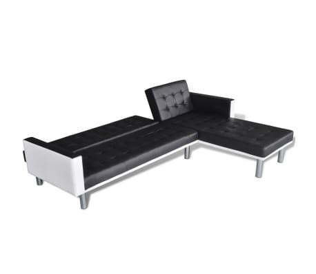 vidaXL Canapé-lit d'angle Cuir synthétique Noir[4/9]