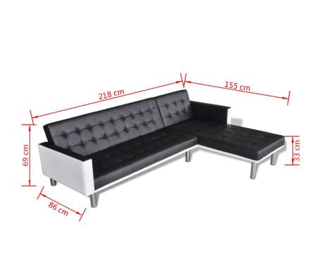 vidaXL Canapé-lit d'angle Cuir synthétique Noir[9/9]