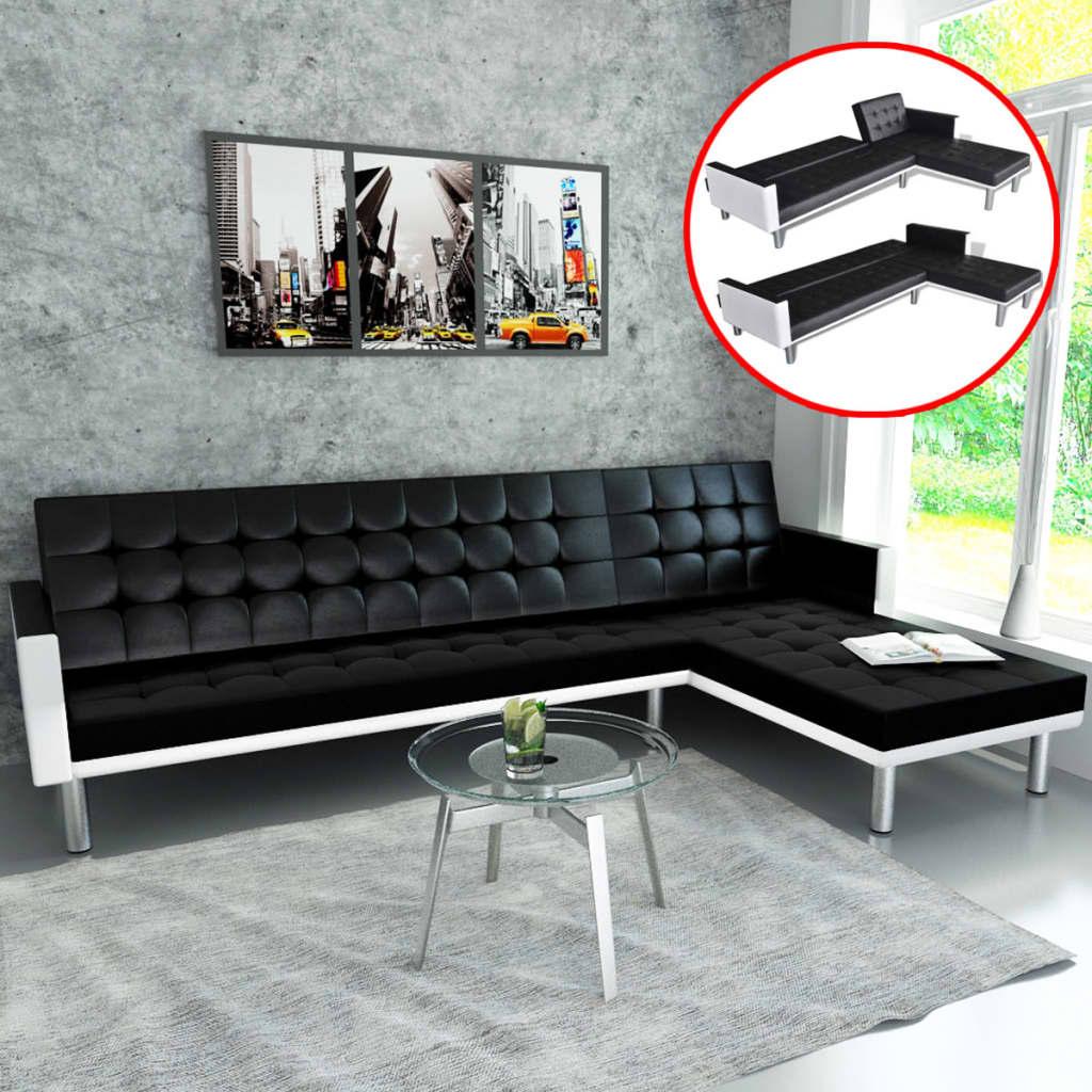 Canapé d'angle Noir Cuir Contemporain Confort