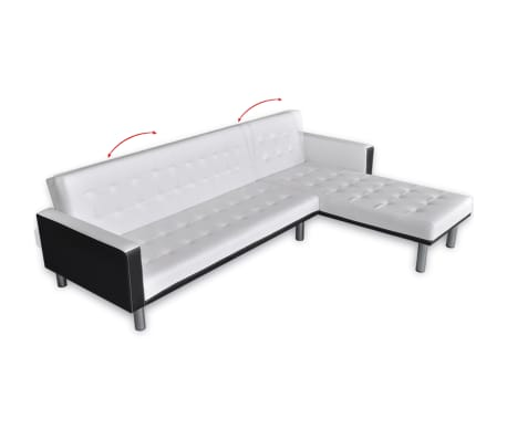 vidaxl ecksofa mit schlaffunktion kunstleder wei g nstig kaufen. Black Bedroom Furniture Sets. Home Design Ideas