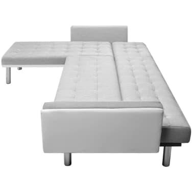 Vidaxl divano letto ad angolo tessuto 218x155x69 cm bianco - Divano bianco e grigio ...