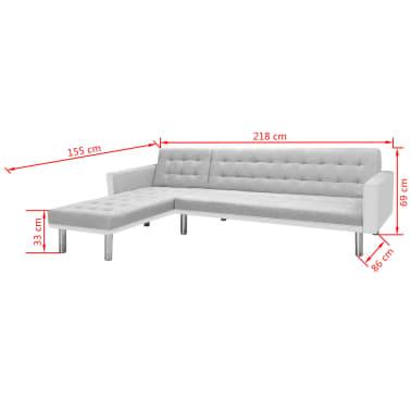 Vidaxl divano letto ad angolo tessuto 218x155x69 cm bianco - Divano letto ad angolo ...