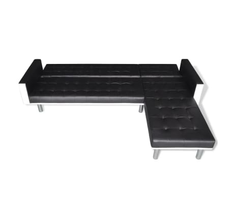 vidaXL L-shaped Sofa Bed Artificial Leather Black and White[7/8]