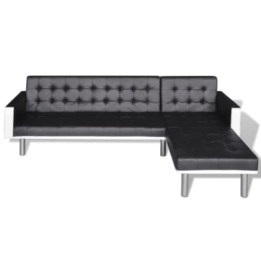 vidaXL L-shaped Sofa Bed Artificial Leather Black and White[4/8]