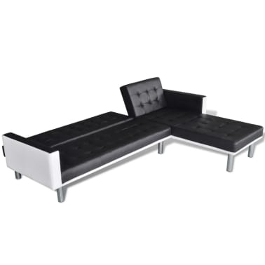vidaXL L-shaped Sofa Bed Artificial Leather Black and White[5/8]