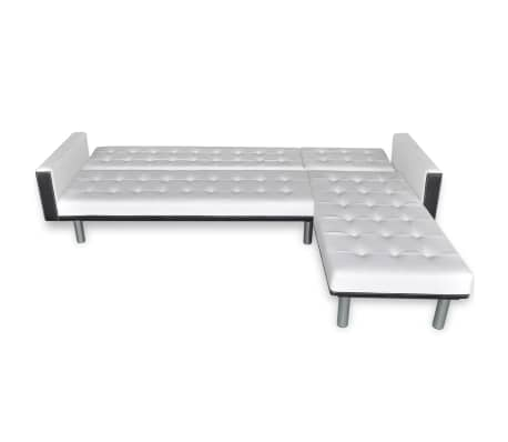 vidaXL L-shaped Sofa Bed Artificial Leather White and Black[7/7]