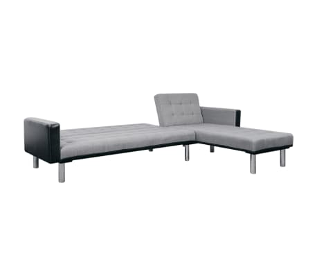 vidaXL L-shaped Sofa Bed Fabric Black and Gray[5/7]