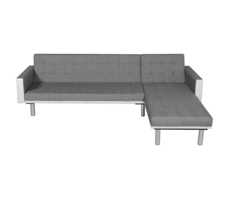 Vidaxl L Shaped Sofa Bed Fabric White And Gray 2 7